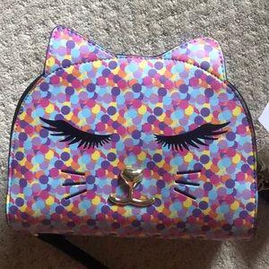 New Betsey Johnson confetti sleepy kitty crossbody